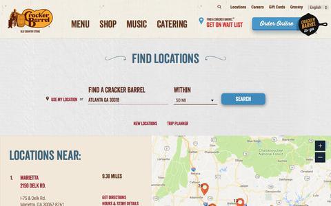 Screenshot of Locations Page crackerbarrel.com - Find Local Restaurants   Cracker Barrel Locations - captured July 22, 2018