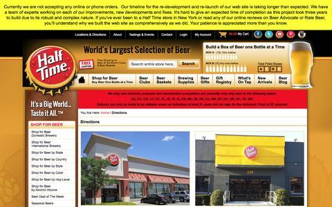 Screenshot of Maps & Directions Page halftimebeverage.com - World's Largest Selection of Beer Online - Half Time - captured Jan. 24, 2016