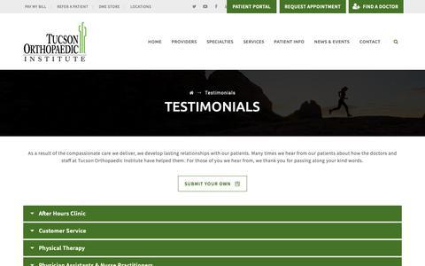 Screenshot of Testimonials Page tucsonortho.com - Testimonials - Tucson Orthopaedic Institute - captured Oct. 20, 2018