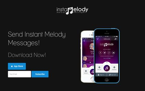Screenshot of Home Page instamelody.com - instaMelody - Send Instant Melody Messages - captured Oct. 6, 2014