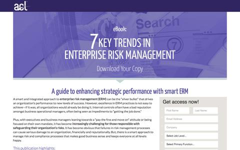 Screenshot of Landing Page acl.com - Download 7 Key Trends in Enterprise Risk Management - captured March 4, 2018