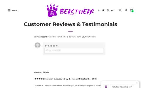 Screenshot of Testimonials Page beastwear.com.au - Customer Reviews & Testimonials – Beastwear - captured Nov. 6, 2018