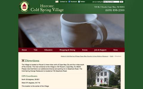 Screenshot of Maps & Directions Page hcsv.org - Directions «  Historic Cold Spring Village Cape May County Living History Museum - captured Oct. 3, 2014
