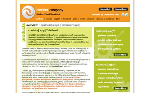 Screenshot of Products Page corridorcompany.com - Contract Management Software and Business Solutions for SharePoint   Corridor Company - captured Oct. 3, 2014