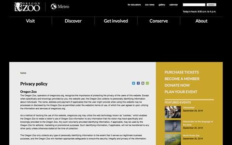 Screenshot of Privacy Page oregonzoo.org - Privacy policy | Oregon Zoo - captured Sept. 23, 2018