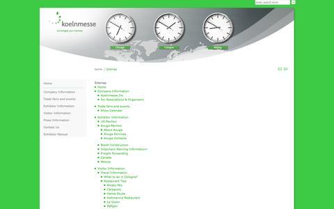 Screenshot of Site Map Page koelnmessenafta.com - Sitemap - captured Oct. 6, 2014