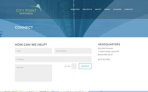 Screenshot of Contact Page citypointpartners.com - Connect - City Point Partners - captured Nov. 6, 2016