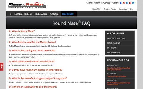 Screenshot of FAQ Page teamppi.com - Round Mate ® FAQ | Pleasant Precision, Inc. | Solution Provider for the - captured Nov. 15, 2017