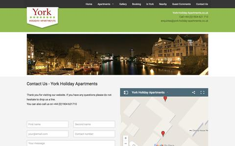 Screenshot of Contact Page york-holiday-apartments.co.uk - Contact Us - Luxury Accommodation in York   York Holiday Apartments - captured Jan. 10, 2016