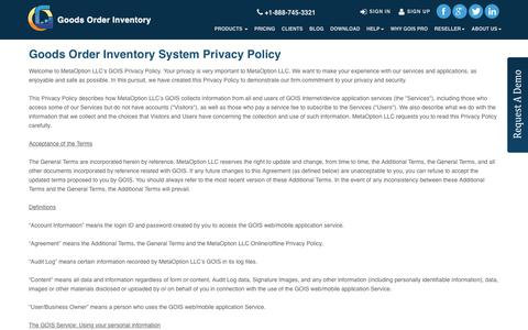 Screenshot of Privacy Page goodsorderinventory.com - GOIS PRO- Product | Inventory Management apps - Privacy Policy - captured Nov. 25, 2016