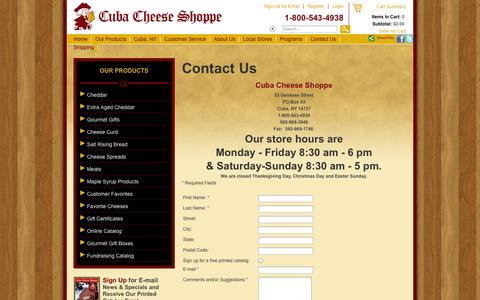 Screenshot of Contact Page Signup Page cubacheese.com - Contact Us - captured Oct. 22, 2014