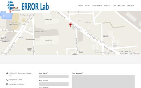 Screenshot of Contact Page error-lab.com - Feel Free to Contact Us | ERROR Lab - captured Nov. 4, 2014