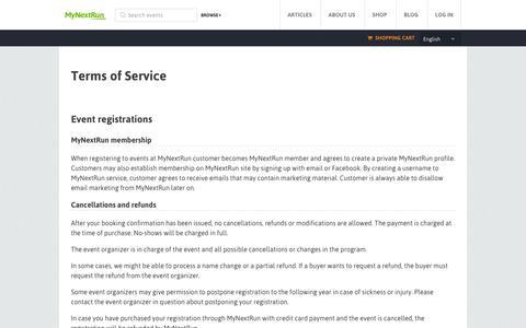 Screenshot of Terms Page mynextrun.com - MyNextRun - captured Sept. 16, 2014