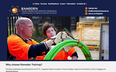 Screenshot of Home Page ramsdentraining.edu.au - Ramsden Telecommunications‑HomePage - captured June 19, 2015