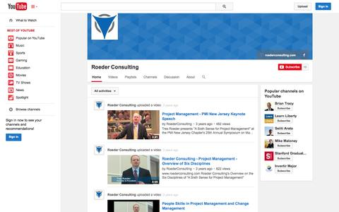 Screenshot of YouTube Page youtube.com - Roeder Consulting  - YouTube - captured Oct. 25, 2014