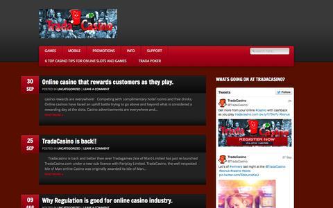 Screenshot of Blog tradacasino.com - online casino | tips, guides and bonuses - captured Sept. 30, 2014
