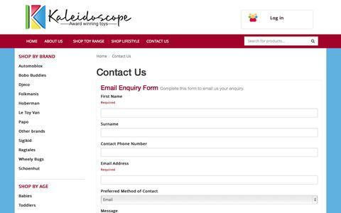 Screenshot of Contact Page kaleidoscope.com.au - Contact Us - captured Oct. 6, 2014