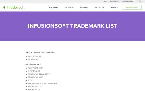 Infusionsoft Trademark List