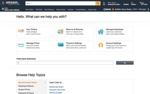 Screenshot of Support Page amazon.in - Amazon.in Help - captured Sept. 30, 2019
