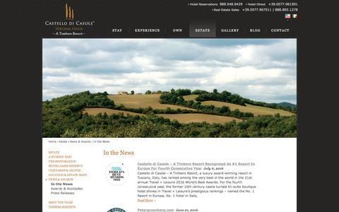 Screenshot of Press Page castellodicasole.com - Boutique Hotel in Tuscany | Castello di Casole - In the News | Hotel in Tuscany - captured July 11, 2016