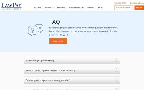 Screenshot of FAQ Page lawpay.com - FAQ | LawPay - The experts in legal payments - captured July 16, 2019