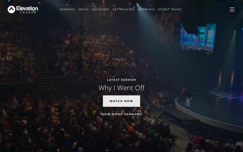 Screenshot of Home Page elevationchurch.org - Elevation Church - Watch Sermons, Get Involved, Give Online - captured Sept. 12, 2018