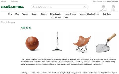 Screenshot of About Page manufactum.co.uk - Company | Manufactum Online Shop - captured Dec. 24, 2016