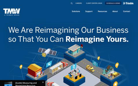 Screenshot of Home Page tmwsystems.com - The Right Fleet Management Software for Your Business | Transportation Management Software | Fleet Management | Trimble Transportation - captured Sept. 12, 2018