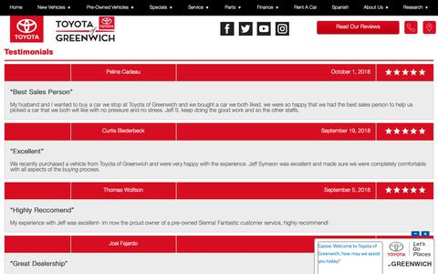 Screenshot of Testimonials Page toyotaofgreenwich.com - Customer Reviews, Testimonials - Toyota Of Greenwich - captured Oct. 20, 2018
