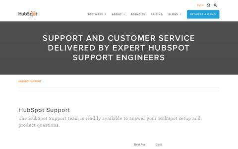 Screenshot of Support Page hubspot.com - Customer Support | HubSpot - captured Nov. 3, 2016