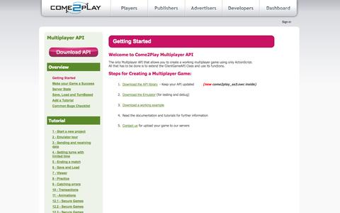 Screenshot of Developers Page come2play.com - Getting Started - Developer - Come2Play - Social Gaming Networks - captured Sept. 19, 2014