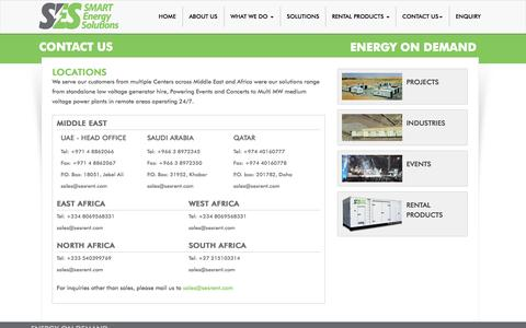 Screenshot of Contact Page Locations Page sesrent.com - Smart Energy Solutions - captured Oct. 23, 2014