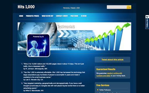 Screenshot of Testimonials Page hits1k.com - Testimonials | Hits 1,000 - captured Oct. 31, 2014