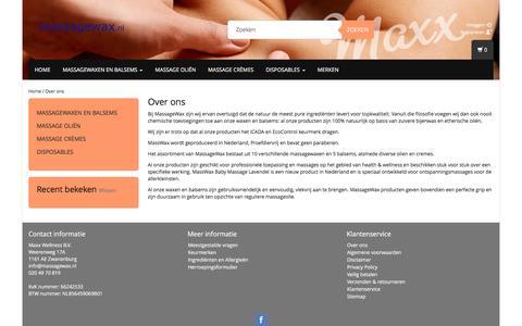 Screenshot of About Page massagewax.nl - Over ons - Massagewax - captured Nov. 27, 2016