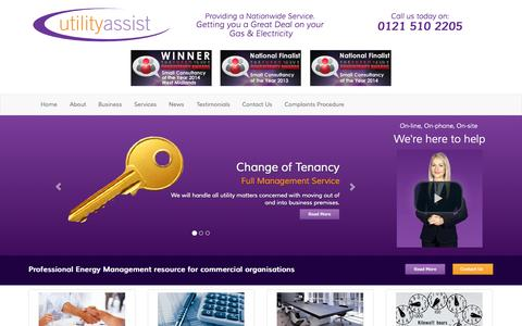 Screenshot of Home Page utilityassist.co.uk - Energy Brokers and Consultants With Business Solutions - captured Oct. 6, 2014