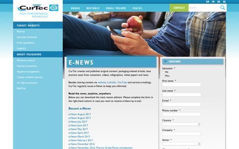 Screenshot of Signup Page curtec.com - e-News - CurTec - captured Sept. 17, 2017