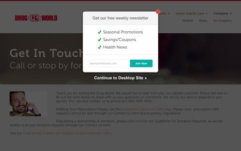 Screenshot of Contact Page drugworld.com - Contact Us - Drug World - captured Oct. 7, 2018