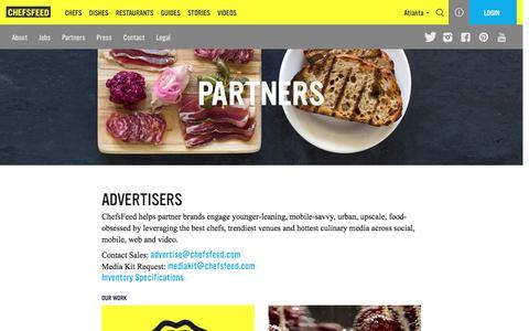 Screenshot of chefsfeed.com - Partners | ChefsFeed - captured Oct. 1, 2016