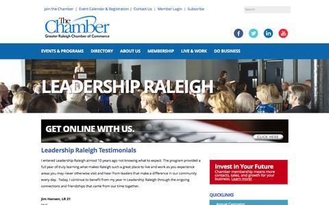 Screenshot of Testimonials Page raleighchamber.org - Testimonials - Raleigh Chamber of Commerce | Raleigh, NC - captured Jan. 25, 2016