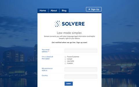 Screenshot of Signup Page gosolvere.com - Sign Up | Solvere - captured Nov. 3, 2014
