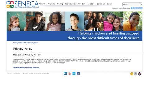 Screenshot of Privacy Page senecafoa.org - privacy policy | Seneca - captured Feb. 13, 2016