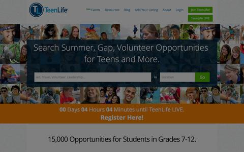 Screenshot of Home Page teenlife.com - Volunteer, Summer, Gap, College and Private School Search | TeenLife - captured Jan. 30, 2016