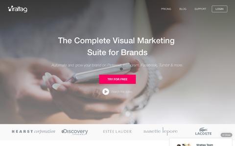 Screenshot of Home Page viraltag.com - Viraltag | The Best Pinterest & Instagram Marketing Platform for Brands, Businesses & Bloggers - captured April 11, 2016