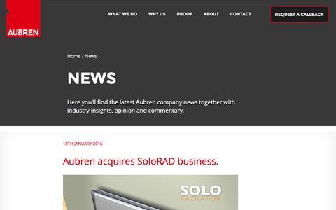 Screenshot of Press Page aubren.com - Air Engineering & Air Handling Unit Design | Company News | AubrenNews - aubren - captured Feb. 6, 2016