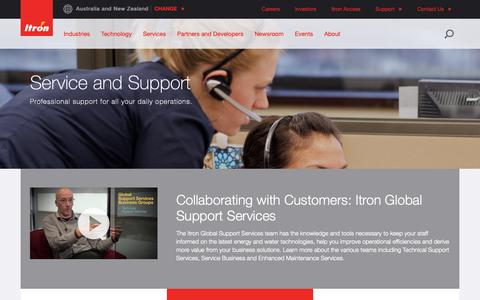 Screenshot of Support Page itron.com - Customer Support - captured April 4, 2019