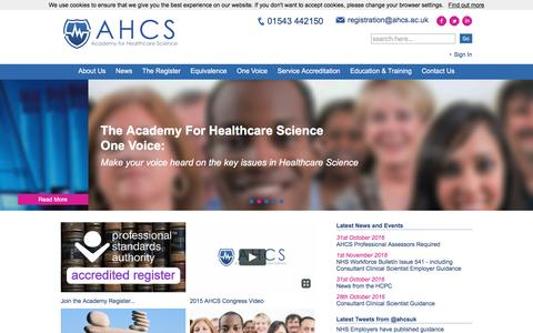 Screenshot of Menu Page ahcs.ac.uk - Academy for Healthcare Science - captured Nov. 20, 2016