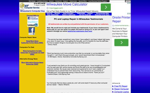 Screenshot of Testimonials Page aurcomputerservice.com - PC and Laptop Repair Testimonials, References, Reviews, Comments in Milwaukee | aur Computer Service - captured Sept. 30, 2014