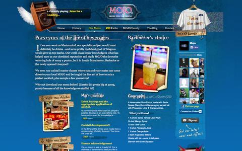 Screenshot of Menu Page mojobar.co.uk - MOJO Bar - Music for the people - captured Sept. 30, 2014