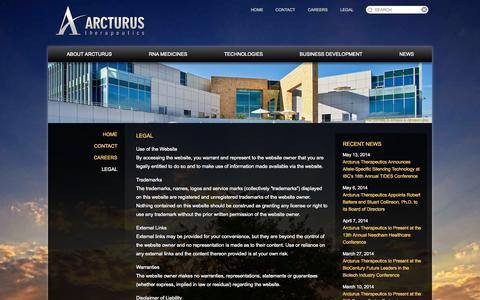 Screenshot of Terms Page arcturusrx.com - Legal | Arcturus Therapeutics - captured Sept. 13, 2014