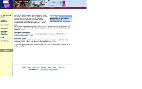 Screenshot of Support Page simphonics.com - Support - captured Oct. 26, 2014